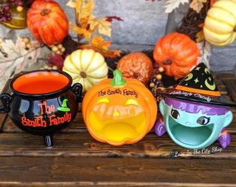 Halloween Candy Jar, Pumpkin Candy Jar, Halloween Candy Bowl, Trick or Treat Jar, Happy Halloween Jar, Witch Candy Jar, Cauldron Candy Jar