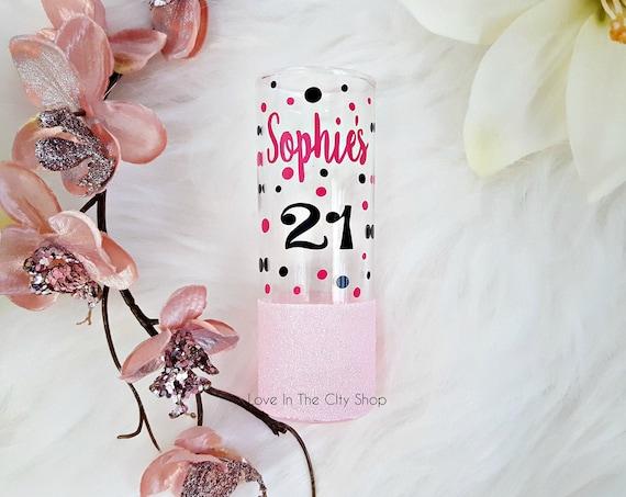 21st Birthday Shot Glass Gift For Her Glitter