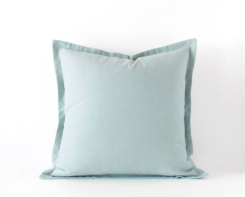 Light blue decorative pillow cover in 16x16 inches , 18x18 inches + more  sizes, plain cushion cover with a flange, pastel decor