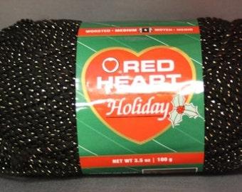 Red Heart Holiday Yarn (6 pk) Black/ Gold