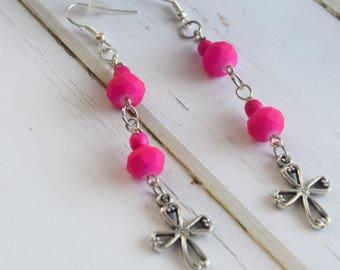 Cross Earrings | Earrings With Cross, Gift-For-Women, Earrings For Mom, Cross Gift For Wife, Gift With Cross For Her, Bridesmaid Gift