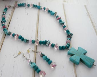 Cross Jewelry Set | Communion Jewelry, Jewelry Gift With Cross, Small Cross For Mom, Gift-For-Mom, Prayer Necklace, Beaded Jewelry