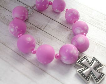 Pink Bracelet For Her | Layer Bracelet, Christian Jewelry Bracelet, Gift For Co-worker, Girlfriend Gift, Day Gift ideas, Jewelry Gift