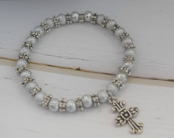 Bracelet Gift For Christian | Stretch Women Bracelet, Gift With Cross, Christian Jewelry Bracelet, Cross Gift For Wife, Charm Bracelet