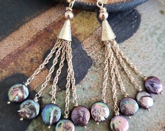 Coin dangle earrings Jewelry hanging charm money brass bronze gypsy boho cluster chunky indian vintage retro French