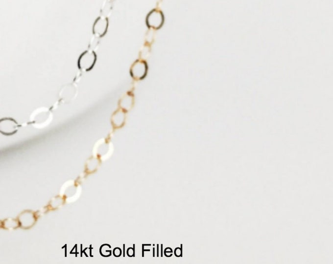 Simple Dainty Chain, Sterling Silver or 14k Gold Filled Cable Chain, LOW PRICE - FREE Shipping, Long or Short