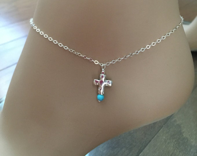 Silver Cross Turquoise Anklet, 925 Sterling Silver, Beach Wedding Anklet or Necklace, Best Friend Anklet