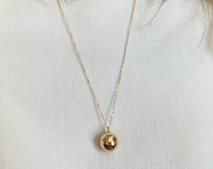 Gold Christmas Jingle Bell Necklace, 14k Gold Filled Cable Chain, Gold or Silver Choice Holiday Necklace 1178/1179