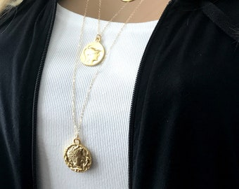 Gold Multi Layers of Greek Medallions, 14k Gold Filled Long Chains, Goddess Coin, Athena Coin, Celebrity Inspired