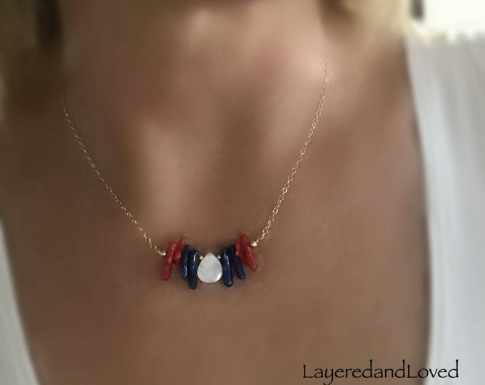 Red, White and Blue Gemstone Necklace, Bamboo Coral, July 4th Jewelry, Teardrop MOP, 14k Gold Filled Chain, Patriotic Necklace