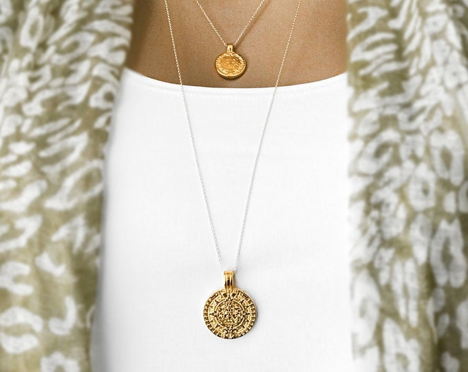 Gold Maya Coin necklace Set, Mini Mayan Coin, Large Mayan Medallion, Aztec Calendar, 14k Gold Filled Coin Necklaces, #831 / #832