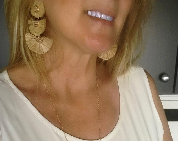 Raffia Tassel Earrings, Choice Colors, 3 Tier Tassels, Light Weight Tassel Earrings
