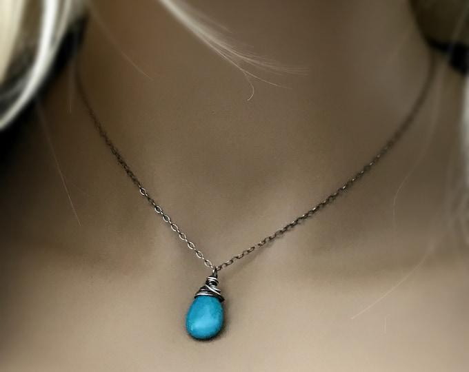 Turquoise Teardrop Necklace, Oxidized Sterling Silver, Wire Wrapped & Oxidized