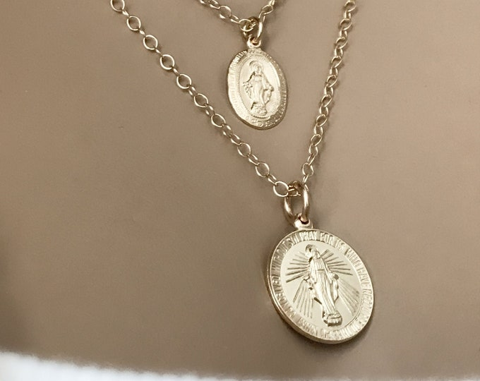 Gold Coin Mother Mary Necklace, Kim K Inspiration, 14k Gold Filled or Sterling Silver Necklace, Inspirational Jewelry