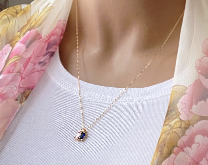 Birthstone Baguette 14k Gold Filled Necklace, Birthstone Choice, Emerald, Ruby, Gold Crystal Necklace, Sapphire, Aquamarine, Topaz, #1112