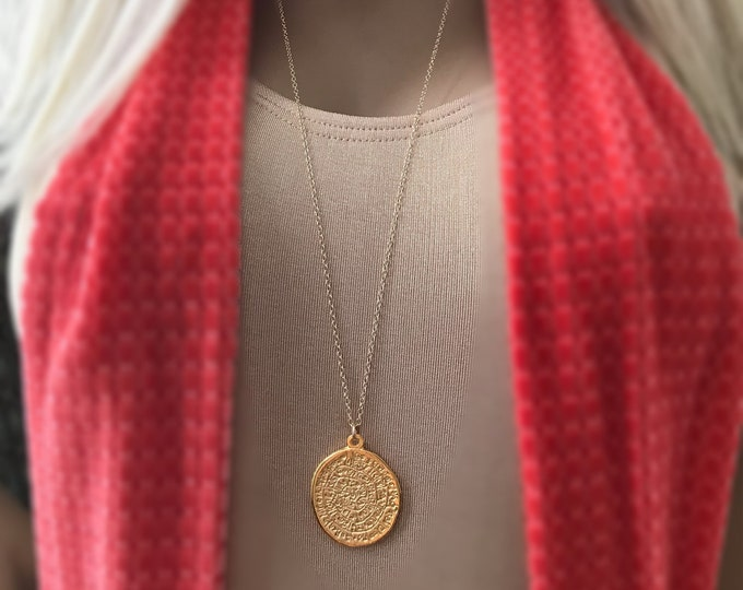 Greek Medallion Coin Necklace, 14k Gold Filled Long Necklace, Phaistos Pendant, Large Greek Coin Medallion, Celebrity Inspired, #504