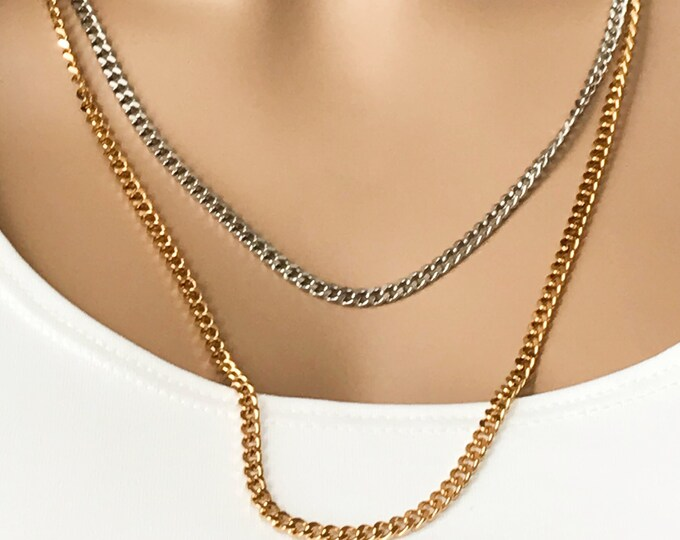 Curb Chain Silver or Gold, Chain Only, Unisex Thick Chain