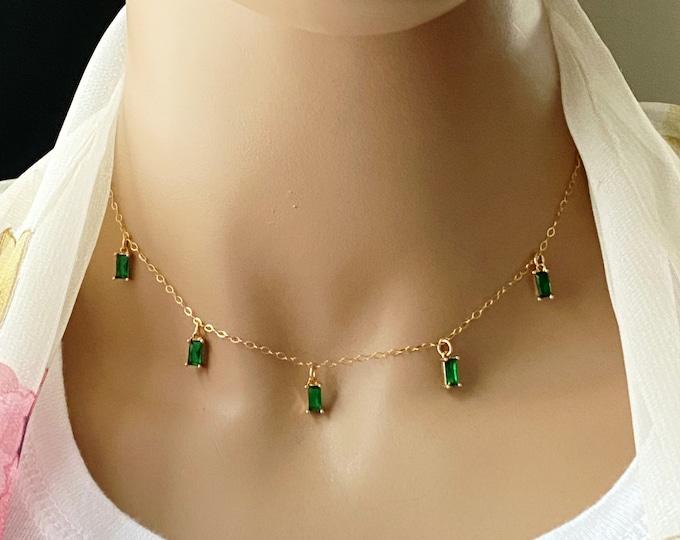 Baguette Bezels 14k Gold Filled Choker, Birthstone Choice, Emerald, Ruby, Gold Crystal Necklace, Sapphire, Aquamarine, Topaz, #1102
