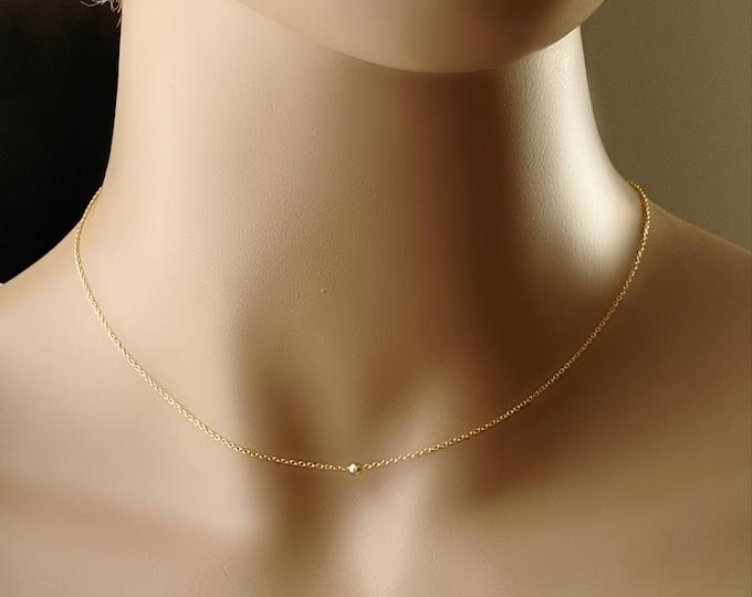 Gold Minimalist Tiny Bead Whisper Necklace, 14k Gold Filled Fine Chain, 14k GF Slide Bead Choker, Dainty Layering Necklace, #1136