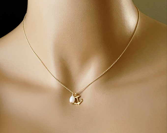 Anchors Away ~ 14k GF Pearl & Anchor Necklace, 14k Gold Filled, Tahitian Black Rainbow or White Pearl, Beach Boho