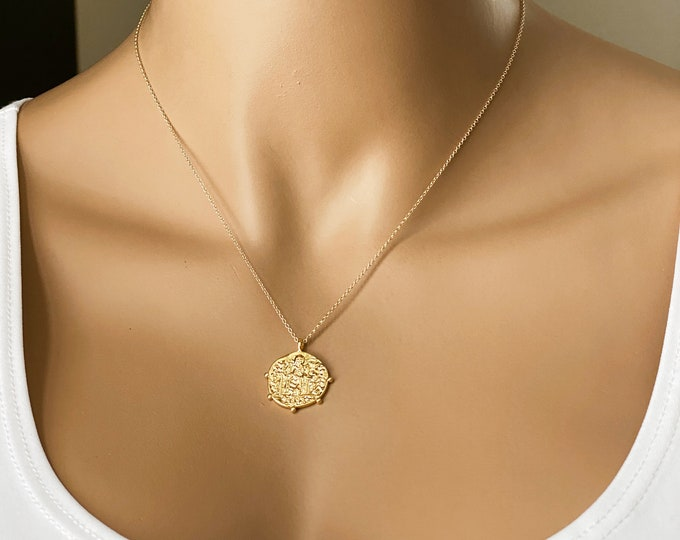 Dotted Rim Greek Coin Medallion Necklace, 14k Gold Filled or Sterling Silver Fine Chain, Simple and Elegant, #1000