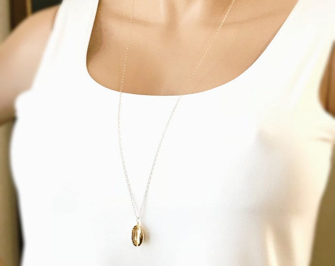 Gold Cowrie Shell Necklace, 14k Gold Filled Glamour Beach Jewelry, 24k Shiny Gold Cowrie Pendant, Choker to Long Necklace Available