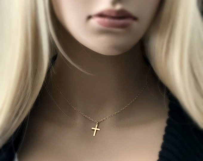 Dainty 14k Gold Filled Cross Necklace, Beautifully Detailed, Children's Cross Necklace, Communion Gift, Religious Gift