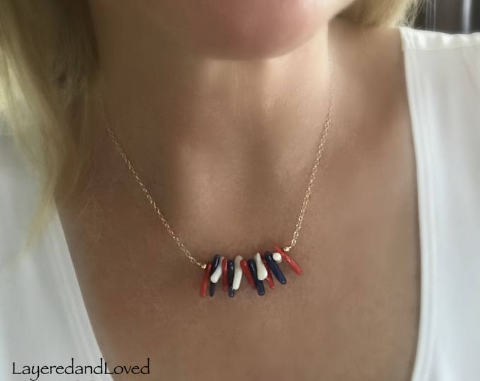 Bamboo Coral Fireworks Necklace, Red, White and Blue Necklace, 14k Gold Filled Chain, Coral Bar Necklace, July 4th Jewelry