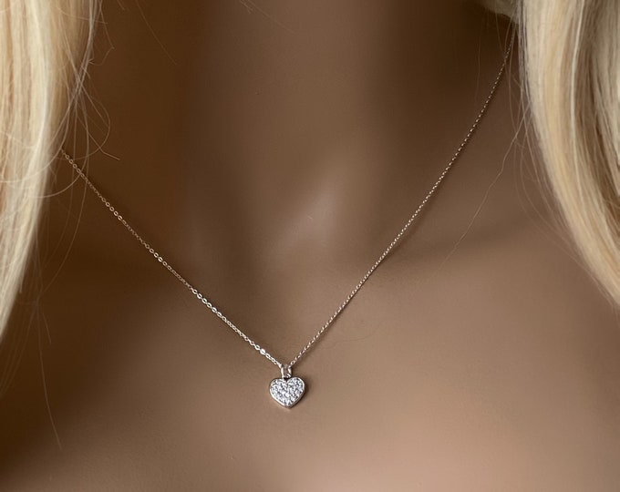 Diamond Paved Heart Sterling Silver Necklace, 14k Gold Filled Dainty Sparkling CZ Heart Necklace, Gift for Her or Child #1170