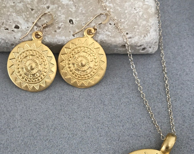 Gold Filled Mandala Earrings, Small Ethnic Coins, Gold Coin Earrings, Bohemian Chic Earrings