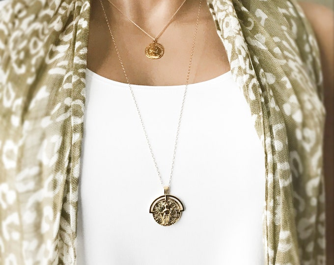 Long Greek Orb Coin Necklace, Layering Greek Pendant Necklace, Shiny Gold Orb, Cyprus Style