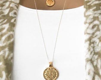 Gold Maya Coin necklace Set, BACK in STOCK, Mini Mayan Coin, Large Mayan Medallion, Layered Necklace Set, 14k Gold Filled Coin Necklaces