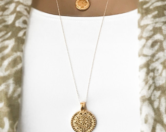 Gold Maya Coin necklace Set, Mini Mayan Coin, Large Mayan Medallion, Layered Necklace Set, 14k Gold Filled Coin Necklaces
