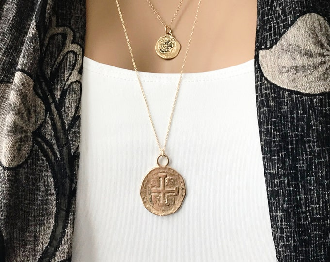 Spanish Coin Reale Necklace, Replica Ancient Gold Coin Medallion Necklace Set, Long Coin Necklace