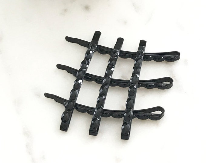 Black Crystal Rhinestone Bobby Pins, Bridal Hair Accessories, 6 Pack Hair Bling
