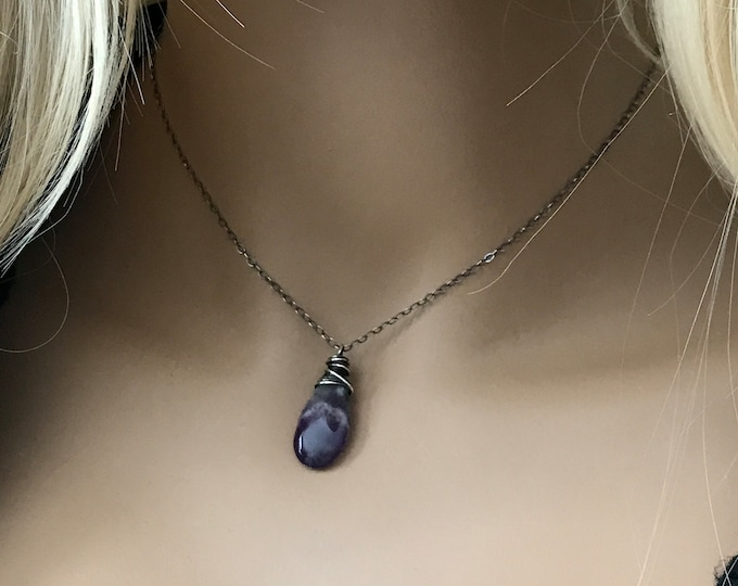 Amethyst Teardrop Oxidized Sterling Silver Necklace, Thick Sterling Wire Wrapped & Oxidized, February Birthstone