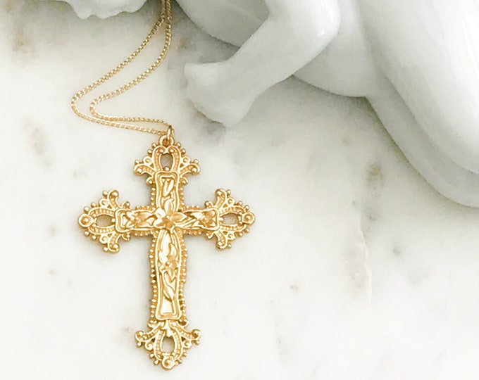 Gold Ornate Cross Necklace, 14k Gold Filled Chain, Big, Bright, and Beautifully Detailed Cross