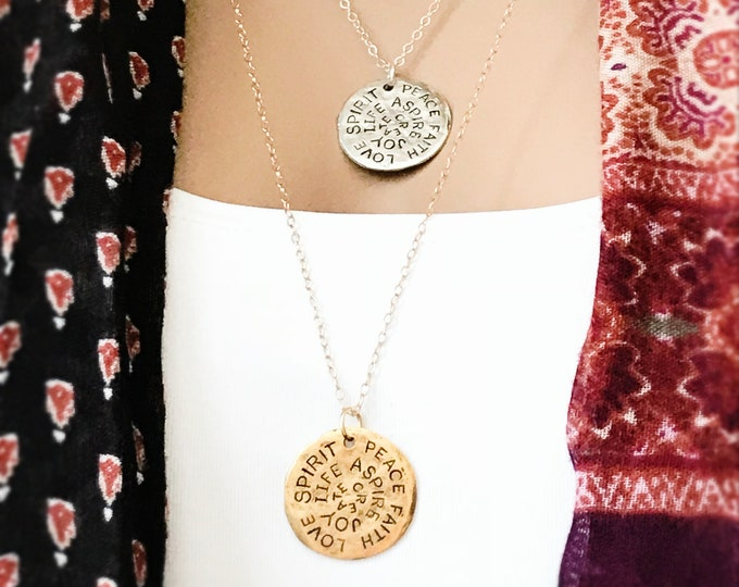 Faith Necklace, Sterling Silver or 14k Gold Filled, Love Spirit Peace Inspirational Necklace