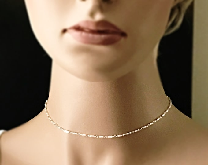 Sterling Silver Bar Chain Choker, Layering Choker, Single Adjustable Choker, Dressy to Boho