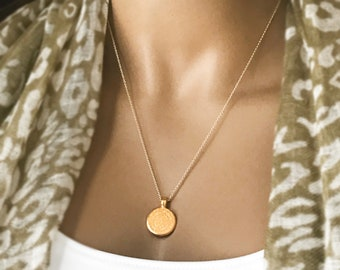 Mini Greek Phaistos Medallion Coin Necklace, 14k Gold Filled Long Necklace, Small Greek Coin Medallion, Celebrity Inspired, Greek Coin, #844