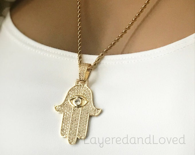 Gold Hamsa Necklace, Gold CZ Diamond Eye Pendant, Gold Layered Necklace, Hundreds of CZs