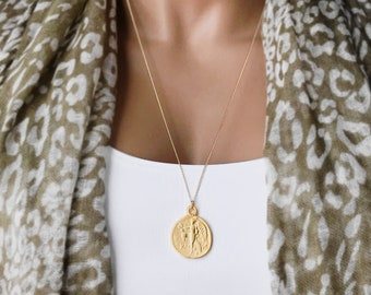 Greek Coin Medallion Necklace, 14k Gold Filled Curb Chain, Ancient Greek Athena Coin, Reversible Pendant