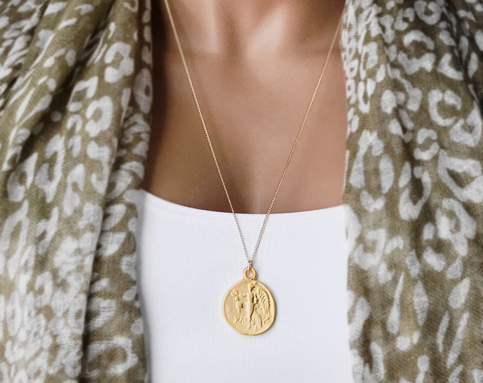 Ancient Greek Coin Medallion Necklace, 14k Gold Filled Curb Chain, Greek Athena Coin, Reversible Pendant