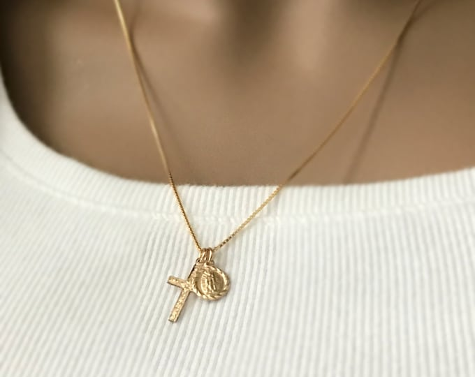 Gold Cross and Guadalupe Charm Necklace, 14k Gold Filled Box Chain