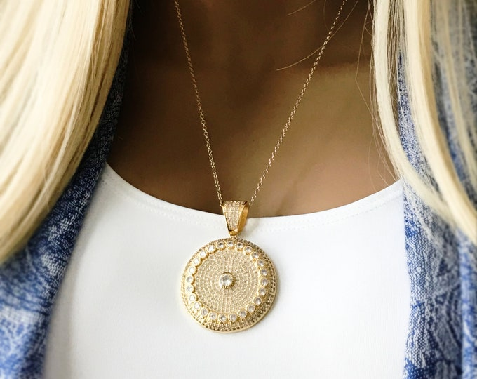 Gold CZ Mandala Necklace, 14k Gold Filled necklace, Long Layering Cubic Zirconia Necklace