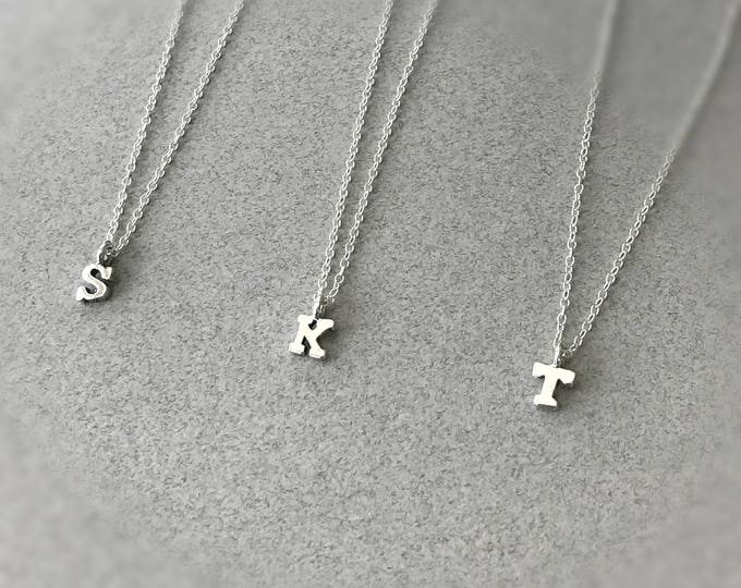 Sterling Silver Dainty Tiny Initial Necklace, Monogram Jewelry, Sterling Silver Initial, Personalized Necklace