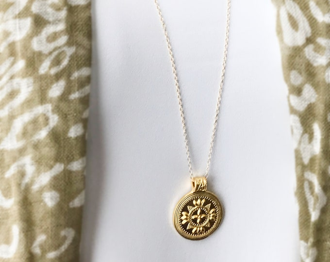 Gold Tribal Coin Medallions Set, 14k Gold Filled Chain, Long Euro Bohemian Necklace