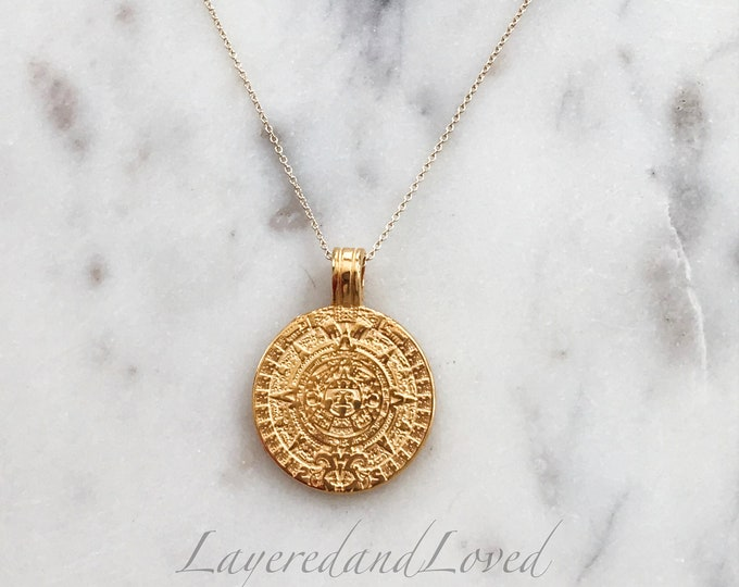 Mayan Gold Coin necklace Set, Mini Mayan Coin, Large Mayan Medallion, Layered Necklace Set, 14k Gold Filled Coin Necklaces