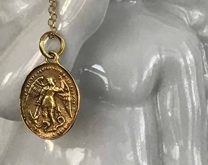 Saint Michael Protection Necklace, Artisan Gold Bronze Coin, 14k Gold Filled Chain, Law Enforcement, Air Land and Sea, Inspirational
