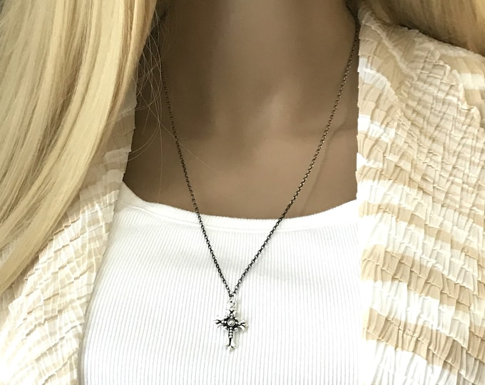 Unisex Sterling Silver Oxidized Fleur Cross Necklace, Diamond Cut Ruthenium Chain, Unisex Layering Necklace Rosary